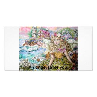 The angel of the pearl shellfish., An angel sav... Card