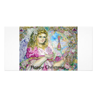 The angel of the rose quartz clock., Happy Chri... Card