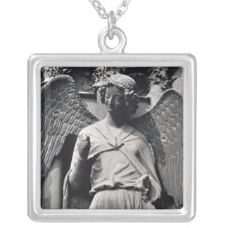 The Angel with a Smile Square Pendant Necklace