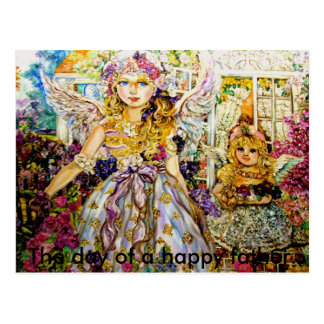 The angels of the flower., The day of a happy f... Postcard