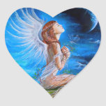 The Angel's Prayer Heart Sticker