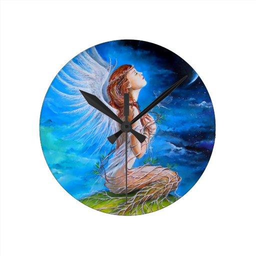 The Angel's Prayer Round Clock