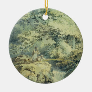The Angler, 1794 (w/c over graphite on paper) Double-Sided Ceramic Round Christmas Ornament