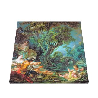 The Angler Boucher Francois rococo scene painting Canvas Print