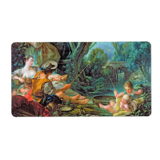 The Angler  Boucher Francois rococo scene painting Custom Shipping Label