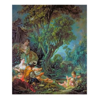 The Angler Boucher Francois rococo scene painting Poster
