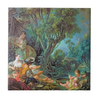 The Angler Boucher Francois rococo scene painting Tiles