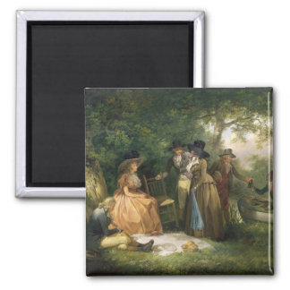The Angler's Repast (oil on canvas) 2 Inch Square Magnet