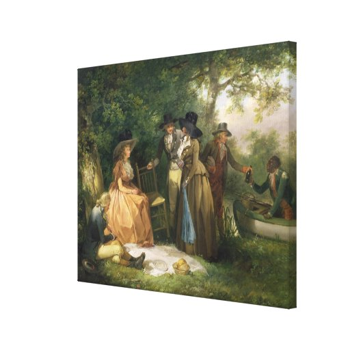 The Angler's Repast (oil on canvas) Canvas Prints