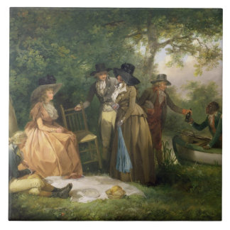 The Angler's Repast (oil on canvas) Tile
