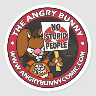 The Angry Bunny Round Sticker