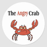 The Angry Crab Round Stickers