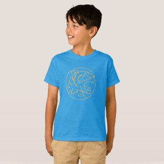 The angry orange tiger blue kids shirt