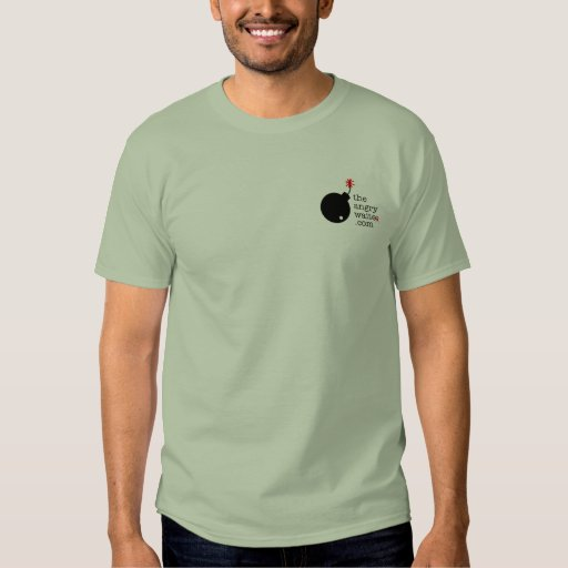 The Angry Waiter T-Shirt - Pocket Side Stone Green