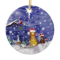 The Animals Christmas Even Watercolor Art Ceramic Ornament
