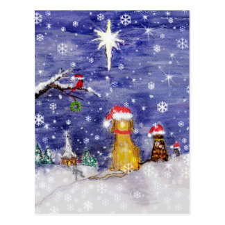 The Animals Christmas Even Watercolor Art Postcard