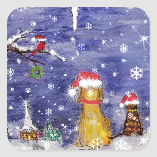The Animals Christmas Even Watercolor Art Square Sticker