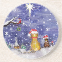 The Animals' Christmas Watercolor Art Coaster