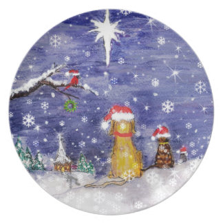 The Animals' Christmas Watercolor Art Plate