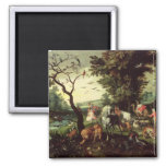 The Animals Entering Noah's Ark 2 Inch Square Magnet