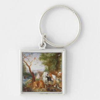 The Animals entering Noah's Ark Silver-Colored Square Keychain