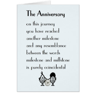 The Anniversary - a funny wedding anniversary poem Card