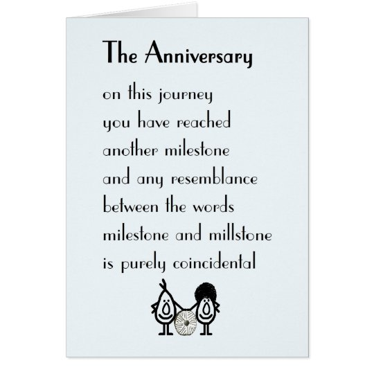 A Funny Wedding Anniversary Poem Card