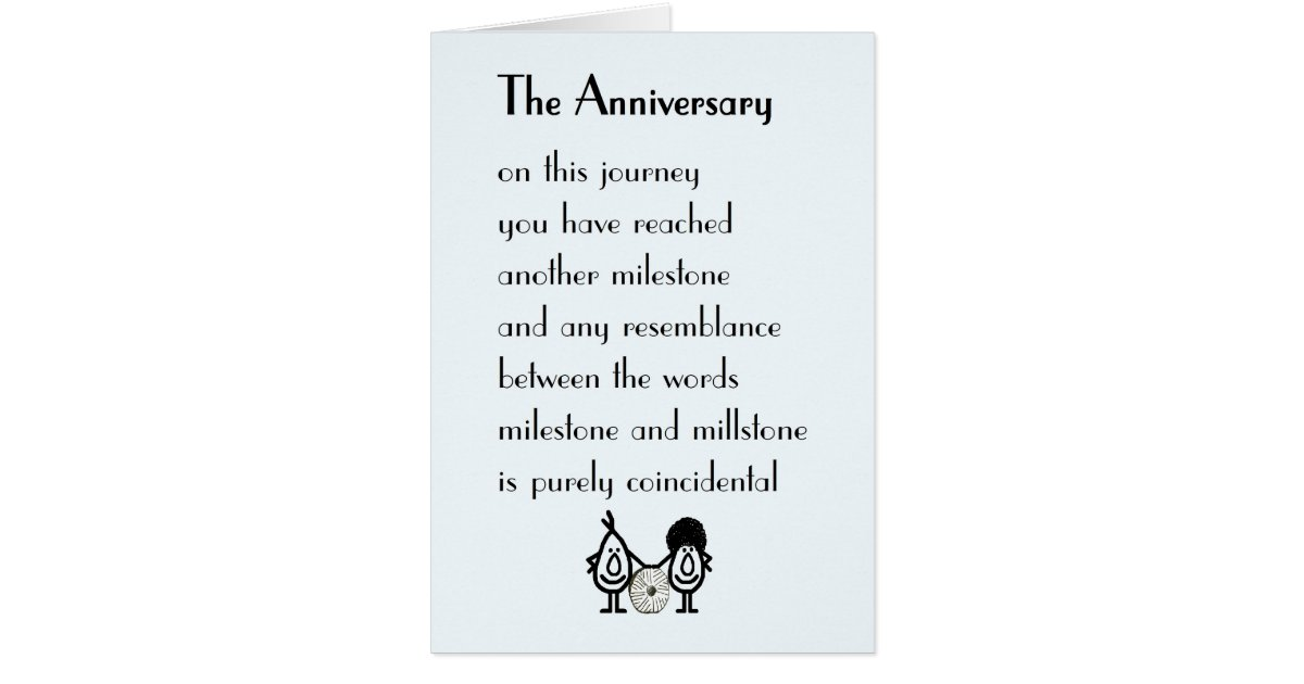 Funny Wedding Invite Poems: A Funny Wedding Anniversary Poem Card