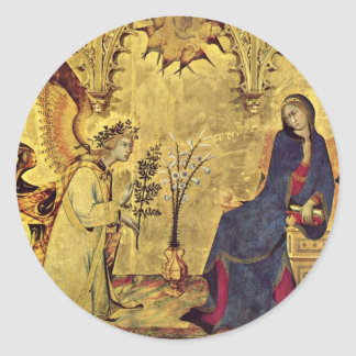 The Annunciation 13th century Classic Round Sticker