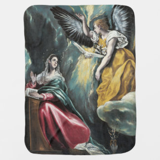 The Annunciation by El Greco Swaddle Blankets