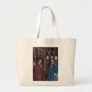 The Annunciation by Jan van Eyck Large Tote Bag