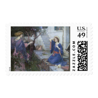 The Annunciation by JW Waterhouse, Vintage Art Stamp