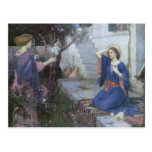 The Annunciation by JW Waterhouse, Vintage Art Postcard
