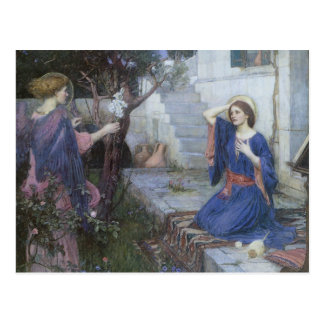 The Annunciation by JW Waterhouse, Vintage Art Postcard