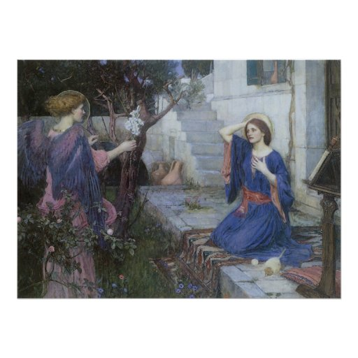 The Annunciation by JW Waterhouse, Vintage Art Posters