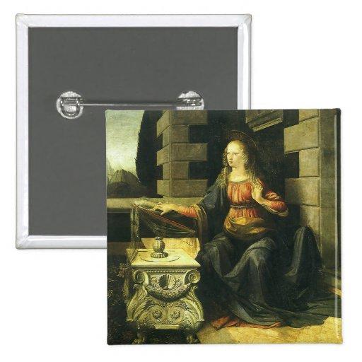 The Annunciation by Leonardo da Vinci 2 Inch Square Button