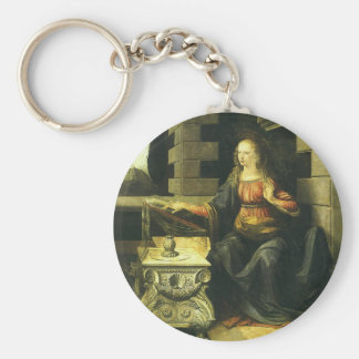 The Annunciation by Leonardo da Vinci Basic Round Button Keychain