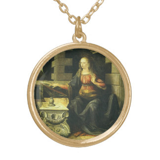 The Annunciation by Leonardo da Vinci Gold Plated Necklace