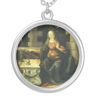 The Annunciation by Leonardo da Vinci Round Pendant Necklace