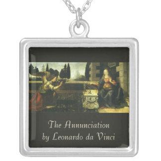 The Annunciation by Leonardo da Vinci Square Pendant Necklace