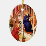 The Annunciation by Melchior Broederlam Christmas Double-Sided Oval Ceramic Christmas Ornament
