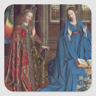 The Annunciation, c. 1434- 36 (oil on canvas) Square Sticker