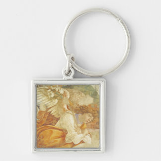 The Annunciation, detail of the Archangel Silver-Colored Square Keychain