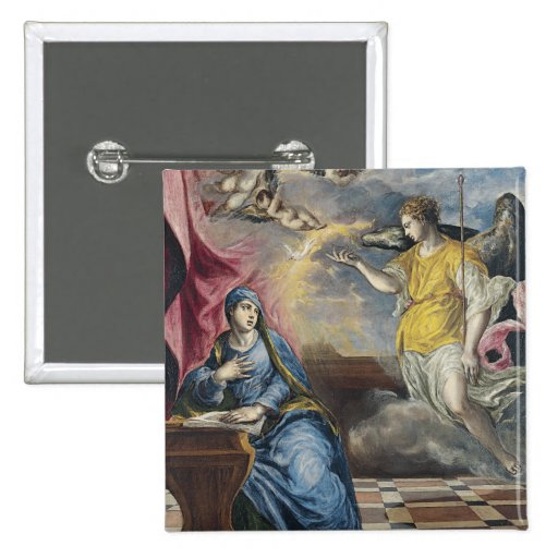The Annunciation - El Greco 2 Inch Square Button