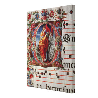 The Annunciation, historiated initial 'O' Canvas Print