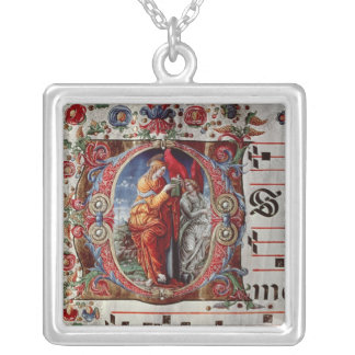 The Annunciation, historiated initial 'O' Silver Plated Necklace