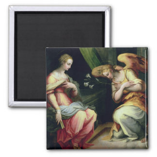 The Annunciation (oil on panel) 3 2 Inch Square Magnet