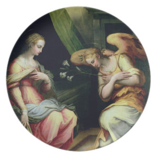 The Annunciation (oil on panel) 3 Melamine Plate