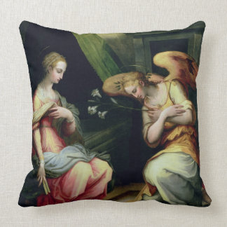 The Annunciation (oil on panel) 3 Throw Pillow