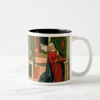 The Annunciation (oil on panel) (detail of 120955) Two-Tone Coffee Mug